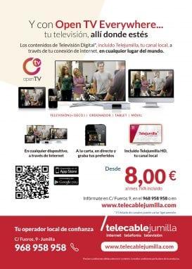 Flyer servicio OpenTV everywhere Telecable Jumilla