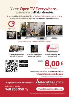 Flyer servicio OpenTV everywhere Telecable Jumilla