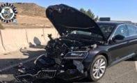 Aparatoso accidente en la incorporación a la carretera de Fuente Álamo