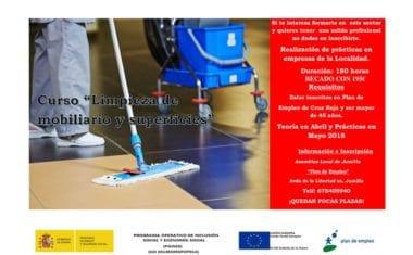El Plan de Empleo de Cruz Roja Jumilla va a realizar en abril un curso sobre 'Limpieza de Superficies y Mobiliario'