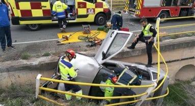 Accidente de tráfico esta tarde en la carretera de Fuente Álamo
