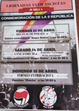 Cartel de las I Jornadas antifascistas de Jumilla