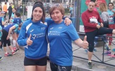 """Mirian Carcelen y Remedios Jiménez finalizan la """"EDP Rock & Roll 10 Kilómetros"""" de Madrid satisfechas con sus resultados."""