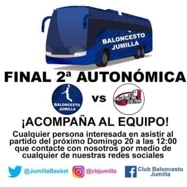 Autobus gratuito para desplazarse con el Club Baloncesto Jumilla hasta Huercal-Overa