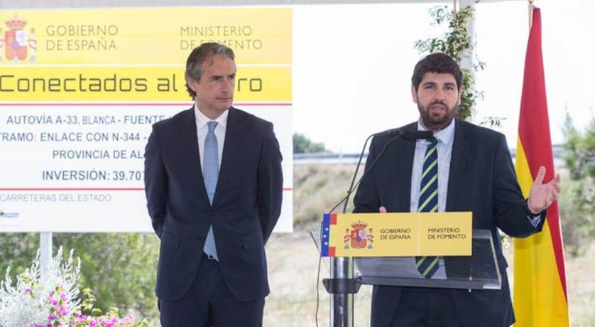 """López Miras: """"La conexión con Valencia a través de la A-33 traerá más oportunidades y progreso territorial, social y económico"""""""