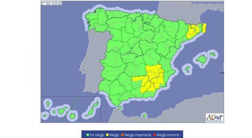 Meteorología emite aviso amarillo por tormentas en la mayor parte de la Región de Murcia