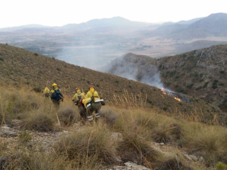 Medios de extinción terrestres trabajando en la Sierra del Molar