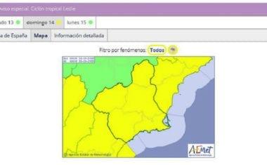 Meteorología emite para este domingo aviso especial de fenómeno meteorológico adverso nivel amarillo por tormentas en la Región de Murcia