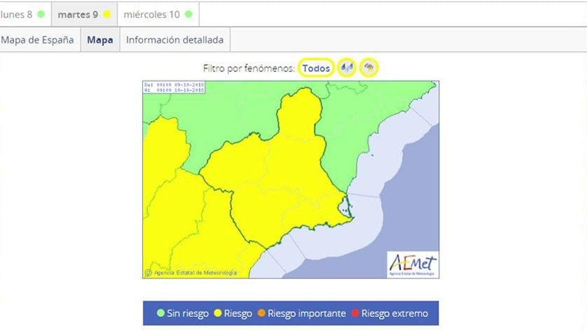 Nos encontramos en alerta nivel amarillo por lluvias y tormentas