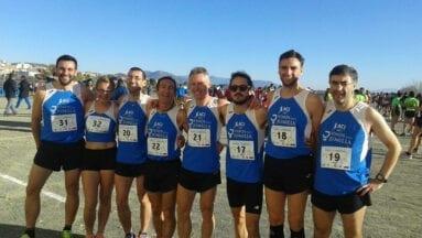 Los ocho atletas del Athletic Club Vinos DOP Jumilla en el Campeonato Regional de Cross
