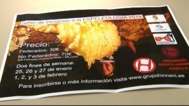 Cartel del curso de Iniciación a la Espelogía organizado por el Grupo Hinneni de Jumilla