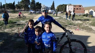 Los miembros de la Escuela de Ciclismo de Jumilla que participaron en Pliego