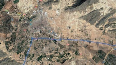 Mapa de la primera etapa de la vuelta ciclista a Murcia a su paso por el término Municipal de Jumilla