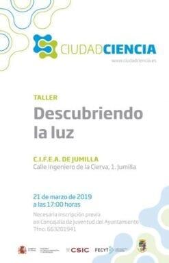 """Cartel Ciudad Ciencia """"Descubriendo la luz"""""""