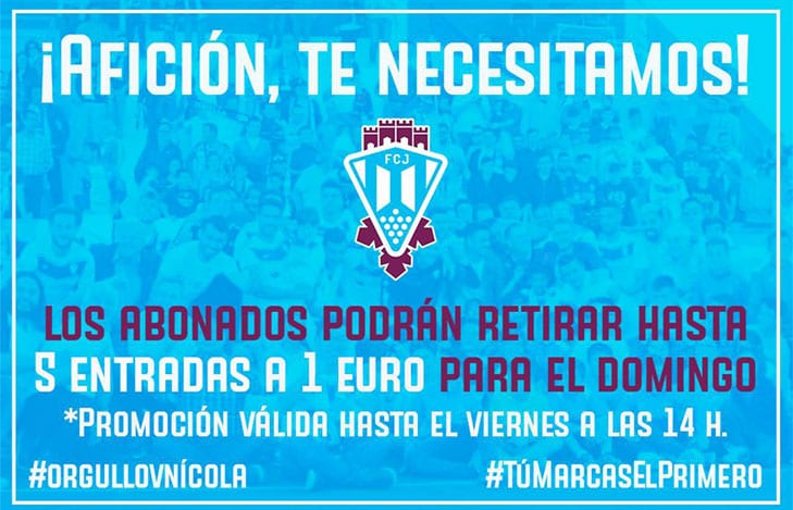 Cartel de la promoción de 5 entradas al precio de 1 € para los abonados del Fútbol Club Jumilla
