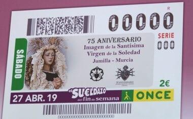 La Santísima Virgen de la Soledad de Jumilla será la imagen de  un cupón de la ONCE