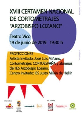 Cartel de la 18 edición del Certamen Nacional de Cortometrajes Arzobispo Lozano