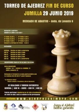 Cartel del Torneo Fin de Curso de la Escuela de Ajedrez Coimbra Jumilla