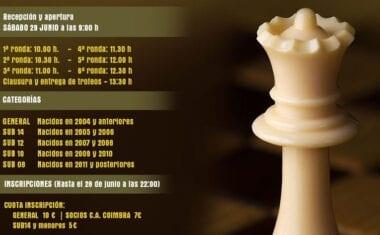 El Torneo fin de curso de la Escuela de Ajedrez  Coimbra Jumilla pondrá el punto y final al curso 2018/19