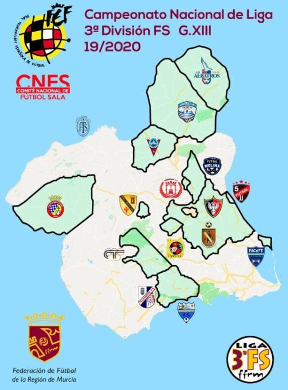 Mapa con los 16 equipos que forman el grupo murciano de la Tercera División de fútbol sala
