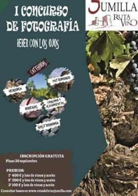 Cartel del primer concurso de fotografía 'Beber con los ojos' que organiza Ruta del Vino de Jumilla