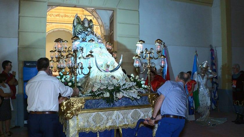 La Patrona de Jumilla, la Virgen de la Asunción, ya se encuentra en la Ermita de San Agustín tras su bajada el último día de la Feria y Fiestas