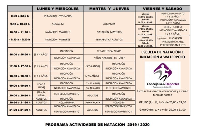 Actividades Natación 2019 2020