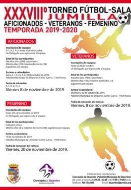 Cartel del 38 Torneo Local de Fútbol Sala Aficionados, Veteranos y Femenino