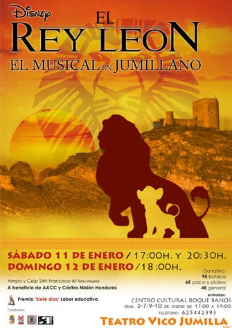 """Cartel """"El Rey León, el musical en Jumillano"""""""