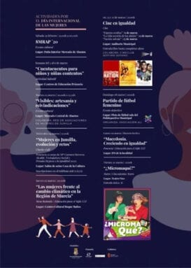 Programa de las actividades organizadas para conmemorar el Día Internacional de la Mujer 8M