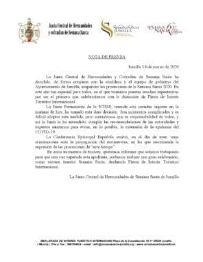 Comunicado suspensión Semana Santa de Jumilla