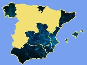 Mapa de las Comunidades Autónomas participantes