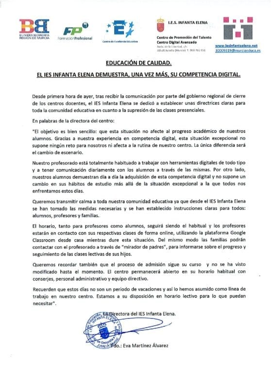 Nota de Prensa IES Infanta Elena