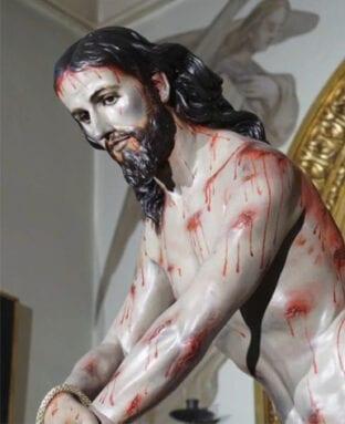 La imagen del Cristo Amarrado en su capilla de Santa Ana del Monte
