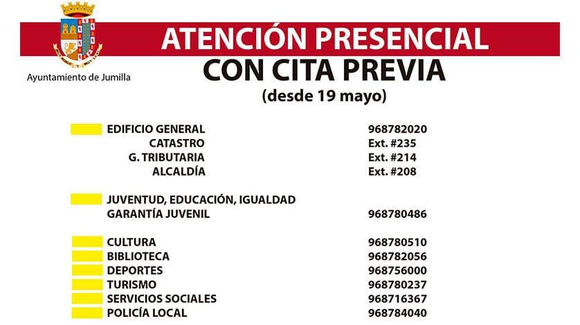 El Excmo. Ayuntamiento de Jumilla retoma su actividad presencial a partir del 19 de mayo con cita previa