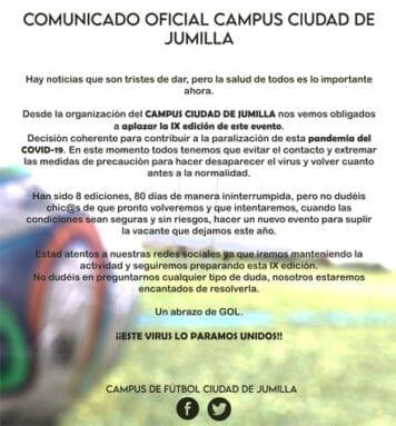 Comunicado oficial del aplazamiento del Campus