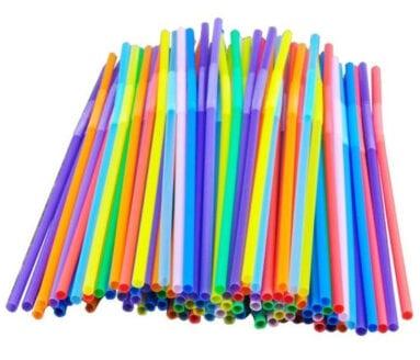 Pajitas de plástico de un solo uso