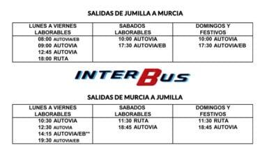 Horarios entre Jumilla y Murcia