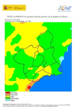 Mapa del riesgo de incendio en la Región de Murcia