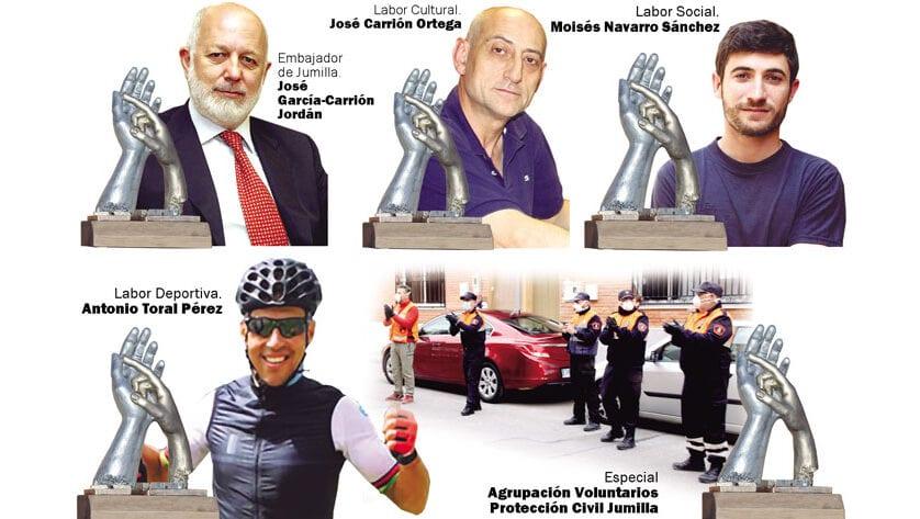 José García Carrión, Moisés Navarro, Antonio Toral, José Carrión y Protección Civil recibirán los Premios Siete Días Jumilla 2020