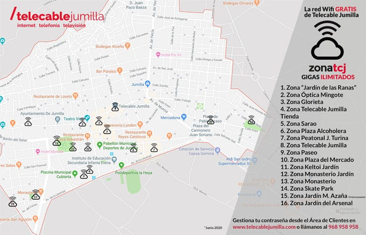 Mapa puntos Wifi de Telecable Jumilla