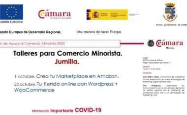 Ayuntamiento y Cámara de Comercio programan dos talleres online destinados al comercio minorista
