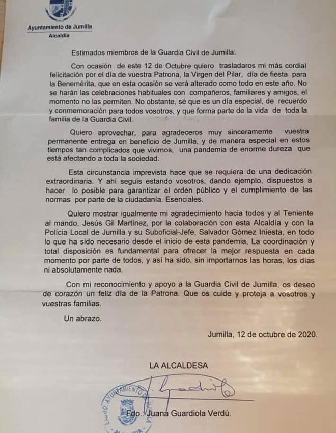 Carta de la alcaldesa de Jumilla a los miembros de la Guardia Civil de la localidad