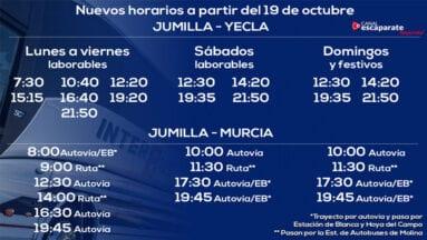 Horarios de salida de Jumilla con destino a Yecla y Murcia