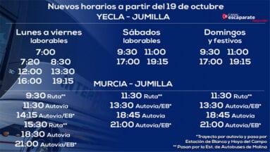 Horarios de salida desde Yecla y Murcia con destino Jumilla