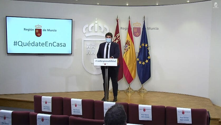 """López Miras pide criterios de reparto """"justos y transparentes"""" de los fondos europeos """"para evitar una España a dos velocidades"""""""