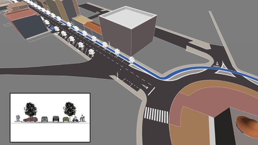 Plano perspectiva de la avenida tras remodelación