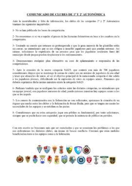 Comunicado de los clubes de Primera y Segunda Autonómica