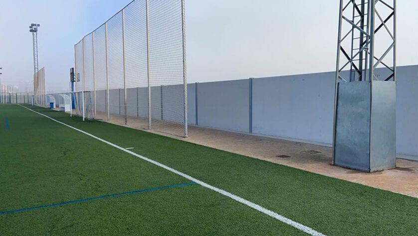 El muro del campo de fútbol Antonio Ibáñez ya está listo