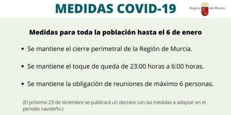 Medidas regionales hasta el 6 de enero